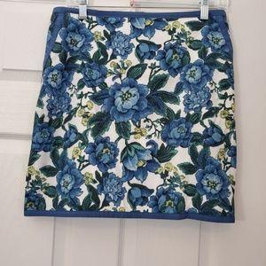 Ann Taylor Loft Cotton Floral Work/Casual Skirt 8P